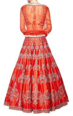 orange silk embroidered lehenga set