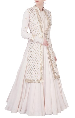 Off-white flared anarkali & jacket set
