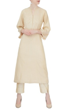 beige chikan kurta with cigarette pants