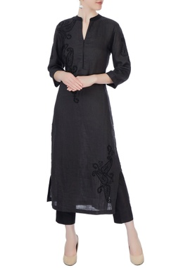 charcoal grey & black kurta with pants