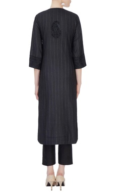 black chikan embroidered kurta set