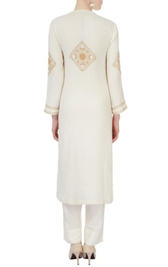 white chikan kurta & pants