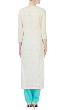 white & blue chikan embroidered kurta set