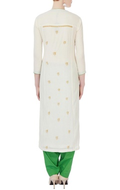 white & green floral kurta set