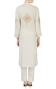 white embroidered kurta & pants
