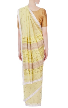 Lime yellow embellished sari & blouse piece
