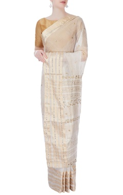 Anjul Bhandari White & gold embellished sari & blouse piece