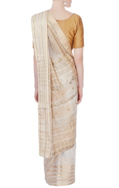 White & gold embellished sari & blouse piece