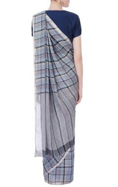 Blue & purple linen sari