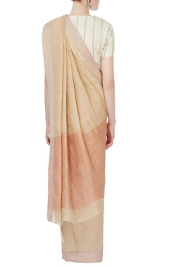 Beige sari with twill border