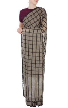 Grey sari with silk grid pattern