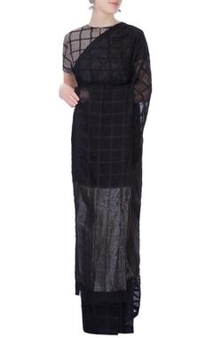black sari in silk grid pattern