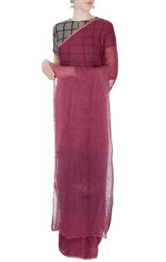 maroon linen sari with thick border
