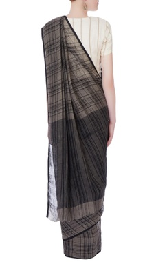 grey & black checkered linen sari