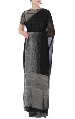 Grey & black stripe linen sari blouse