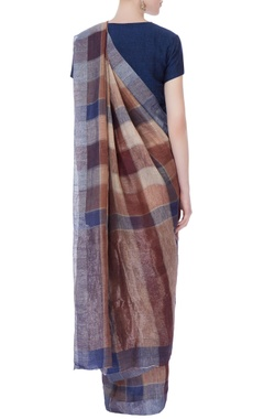 Multicolored jamdani linen sari
