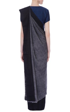 grey silk sari with black border