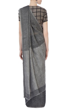 grey sari with jacquard border
