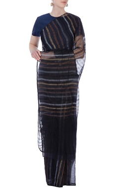 black stripe linen sari