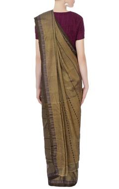 Brown silk sari with jacquard border