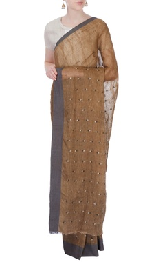 brown linen sari with grey border