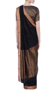 black linen sari with jhandi border