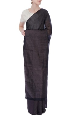 black & grey silk sari