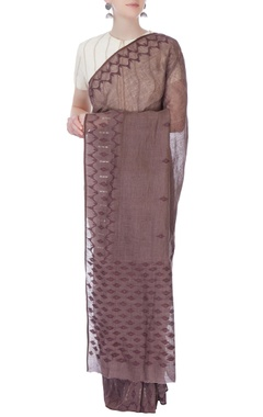 brown linen sari with jamdani border