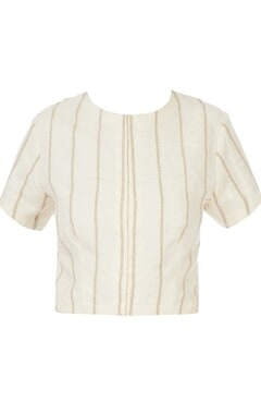 white cord stripes linen sari blouse