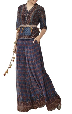 Multicolored printed sharara pants