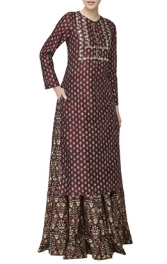 Ruby red printed kurta & lehenga