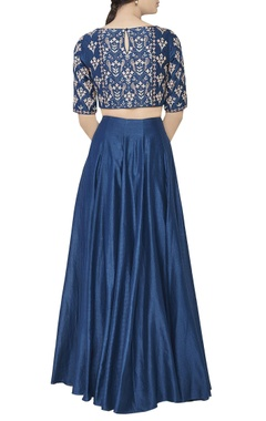 Blue chanderi silk lehenga