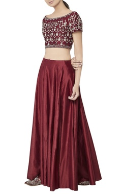 Burgundy chanderi silk lehenga