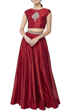 Red embroidered classic lehenga