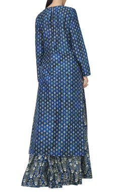 Blue printed kurta & lehenga set