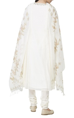 White chanderi gota kurta set