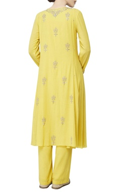 Yellow kurta in sequin embroidery  set