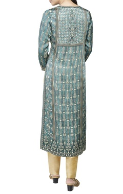 Sage green printed long kurta