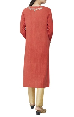 Rust orange thread embroidered kurta