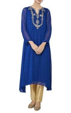 Blue asymmetric georgette kurta