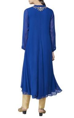blue asymmetric kurta