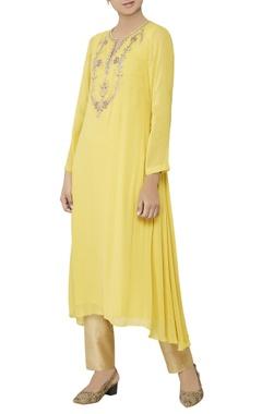Yellow zardozi embroidered kurta