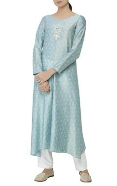 Powder blue silk kurta