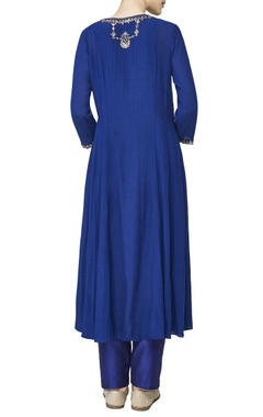 Blue embroidered long tunic