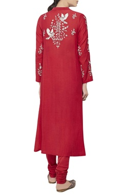 Red leaf motif silk kurta set