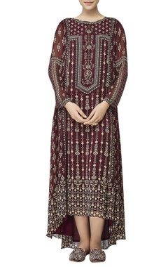 Ruby red printed asymmetric kurta