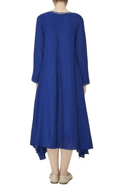 Blue asymmetric georgette kurta