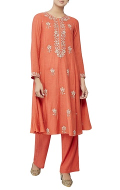 Rust orange kurta in sequin embroidery set
