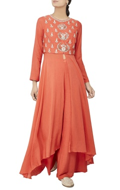 Rust orange front slit kurta set