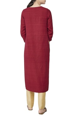 Red embroidered long tunic